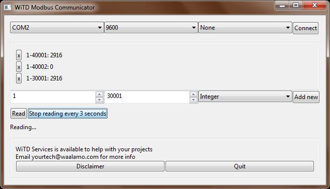 A screenshot of a simple Modbus communication program